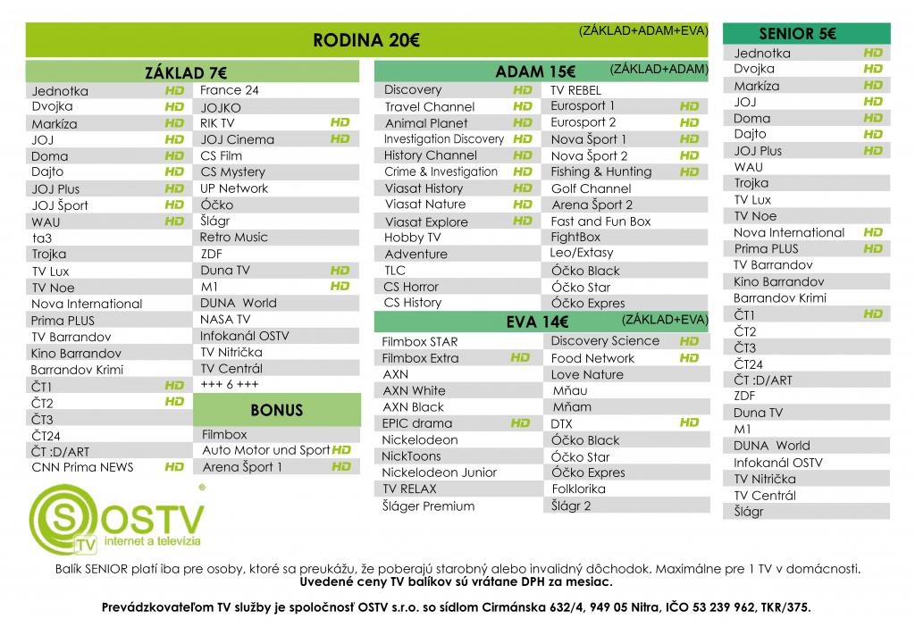 OSTV TV ponuka
